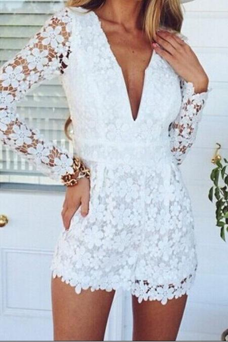 Deep V-neck Long Sleeve Lace Jumpsuits