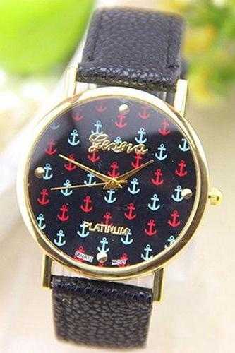 anchor watch, black leather watch, leather watch, bracelet watch, vintage watch, retro watch, woman watch, lady watch, girl watch, unisex watch, AP00074
