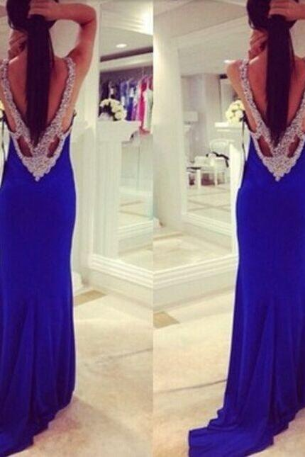 Royal Blue Robe De Soiree New 2015 Sexy Elegant Long Corset Prom Dresses vestido longo de festa Mermaid Party Gowns, Royal Blue Cowl Neck Beaded Spaghetti Straps Long Evening Dress