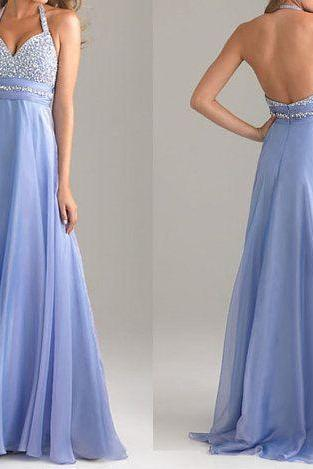 Pd518 Charming Prom Dress,Sequined Prom Dress,A-Line Prom Dress,Halter Prom Dress,Chiffon Prom Dress,Backless Prom Dress