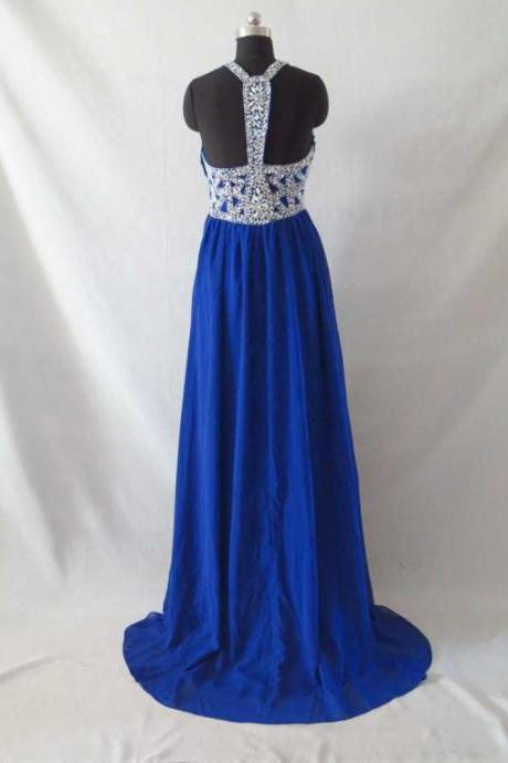 Royal Blue Chiffon Crystal Prom Dress Open Back Sexy Long Prom Dresses Empire Waist Halter Prom Dress Evening Graduation Dress Long Homecoming Dress Bridesmaid Dress