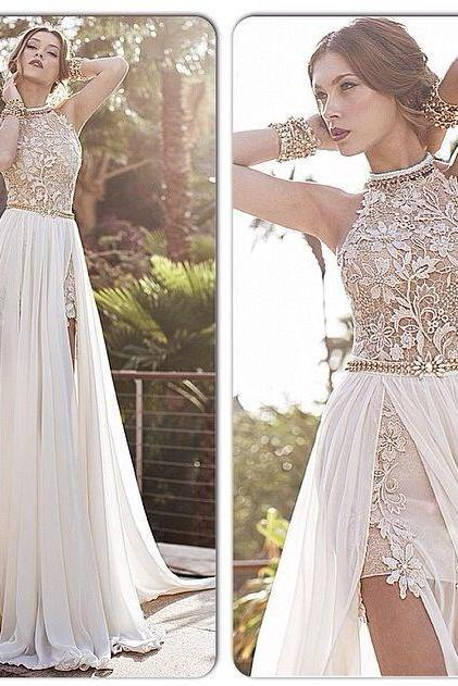 2015 Lace Applique Chiffon Prom Dresses formal dresses, Halter Beaded Crystals Short Side Slit Backless Evening Gowns Summer Beach Wedding Dresses