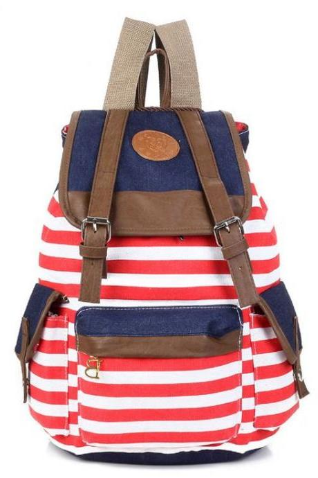 Canvas Horizontal red Stripes School Student Girl Backpack