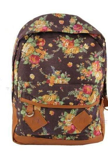 Flower Pattern Cotton Fashion brown Girl Backpack