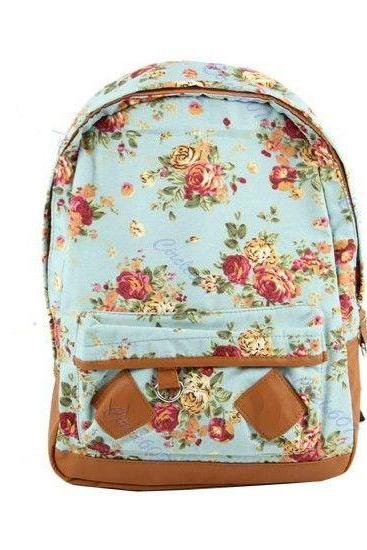 Flower Pattern Cotton blue Fashion Girl Backpack