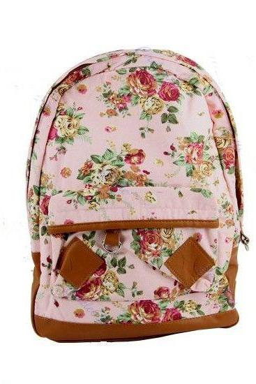 Flower Pattern Cotton pink Fashion Girl Backpack