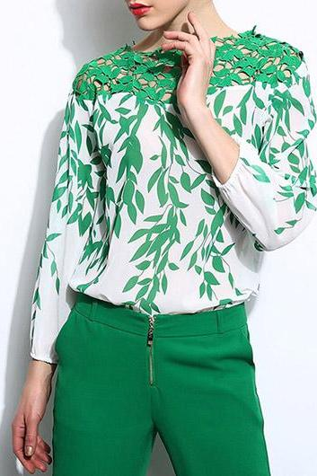 Chic Green Lace Patch work Design Chiffon Top