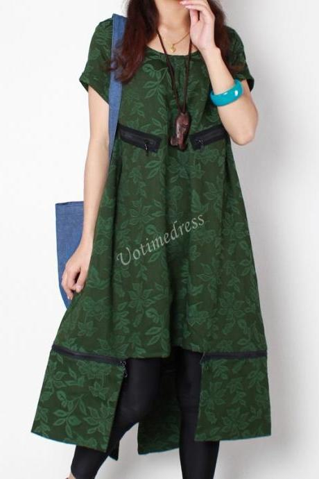 Green Loose Long Dress Women Stereoscopic Detachable Dress