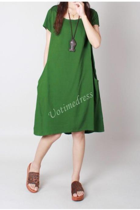 Fruit Green Summer Women Cotton Linen Dress Tunic Loose Short Skirt