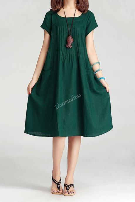 Dark Green Women Cotton Linen Long Dress Casual Skirt 2015 Summer Dress
