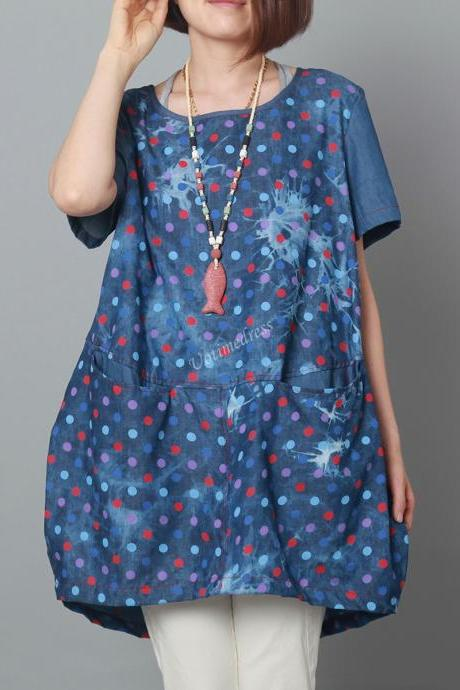 Blue Dots 2015 Women Summer Denim Tops Loose Jeans Dress Cowboy