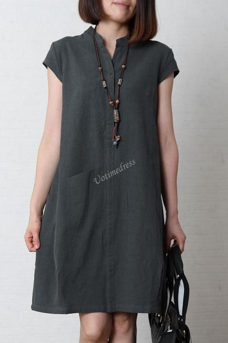 Blue-Gray Women's Sundress Loose Cotton Linen Dress V-Neck 4 Colors