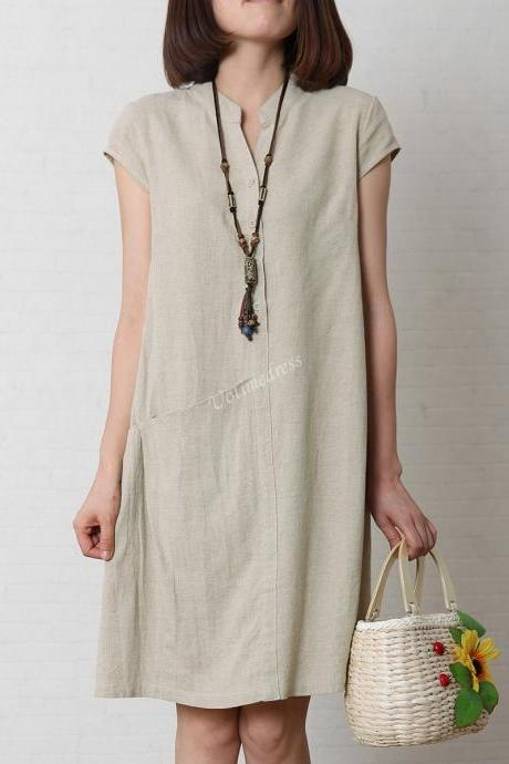 Rice Women's Sundress Loose Cotton Linen Dress V-Neck 4 Colors