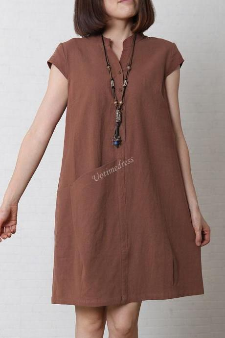 Brick Red Women's Sundress Loose Cotton Linen Dress V-Neck 4 Colors