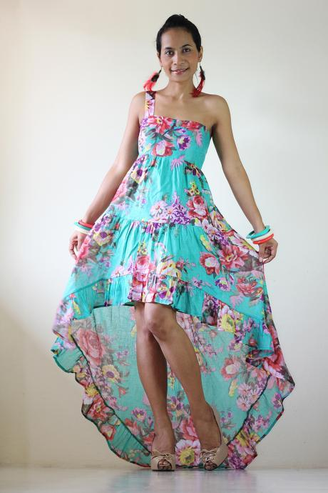 Boho Maxi dress Short Front Long Back Floral Summer Dress