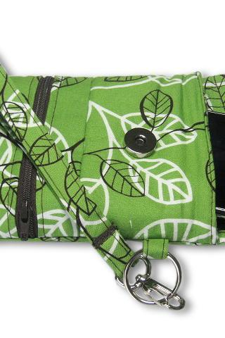Phone Wristlet, Cellphone Wallet, Brown White Green Leaves
