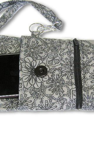 Phone Wristlet, Cellphone Wallet, Gray Floral Pattern