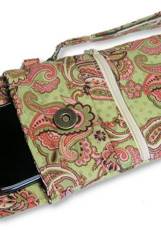 Phone Wristlet, Cellphone Wallet, Green Pink Paisley