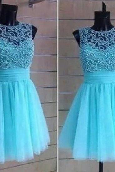 Custom Made A Line Round Neck Short Prom Dresses, Short Homecoming Dresses
