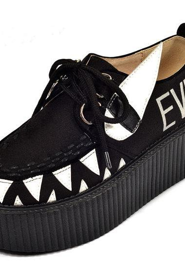 Women's Fashion Thick crust Lace Up Flat Platform Goth Creepers girl Little Monster Pattern Punk Casual Shoes Loafers