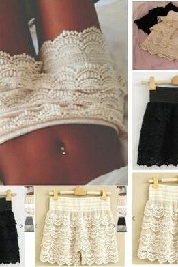Fashion High Woman Waist Pant Skirt Multilayer Lace Hollow Out Hook Flower Crochet Hot Shorts
