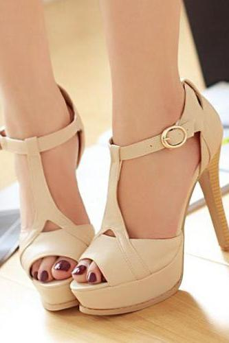 Sexy Stiletto High Heel T Strap Beige Fashion Sandals