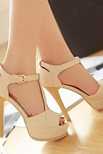 2015 summer Sexy Stiletto High Heel T Strap Beige Fashion Sandals