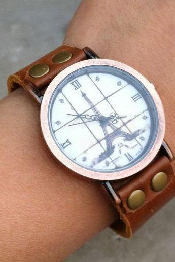 Cute Roman Scale Retro Eiffel Tower Watch