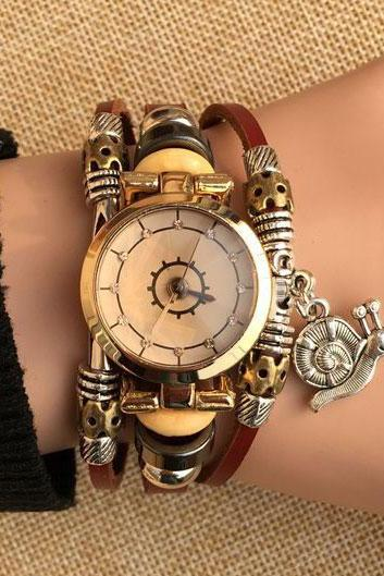 Cute Charm Leather Bracelet Watch