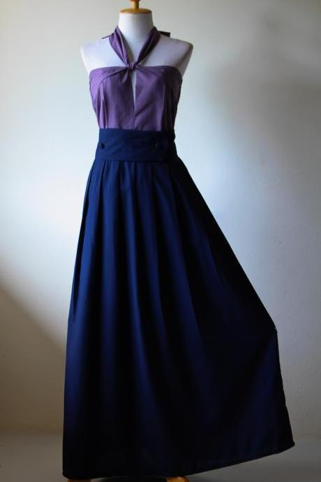 Maxi Dress Navy Blue with Purple Top - Long Bridesmaid dress