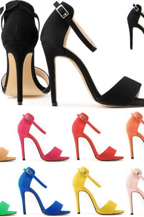 Faux Suede Open-Toe Ankle Strap High Heel Stilettos