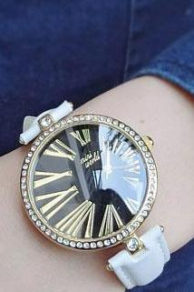 Cute Roman Mumerals Rhinestone Quartz Watch