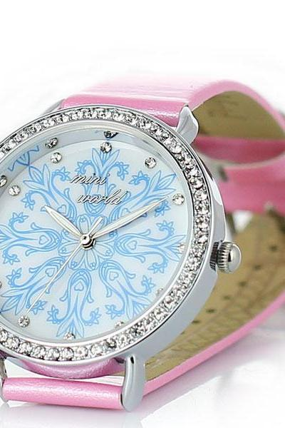 Cute Snowflakes Rhinestone Woman Watch