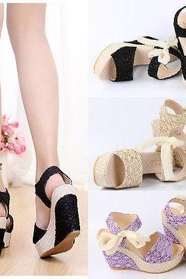 Lady Lace Shoes Peep Toe Wedge Womens Platform High Heel Pump Sandals Bowknot