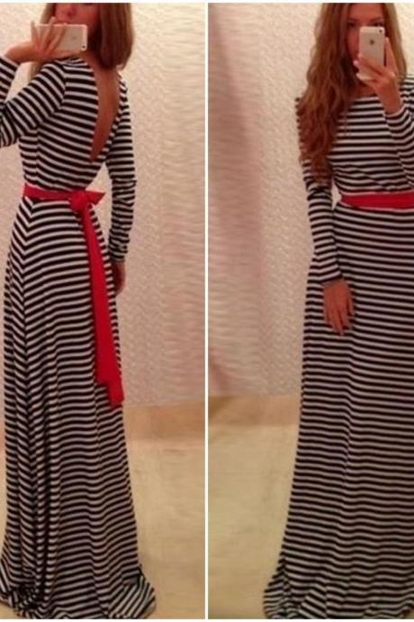 Cute And Classy Long Sleeve V Back Dress VCB40412MN