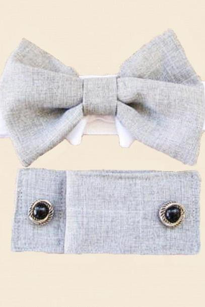 Dog Wedding Cuffs and Bow Tie: Linen Gray