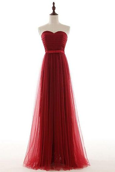 Pretty Tulle Sweetheart Long Burgundy Prom Dresses, Prom Gowns, Evening Dreses, Burgundy Prom Dresses