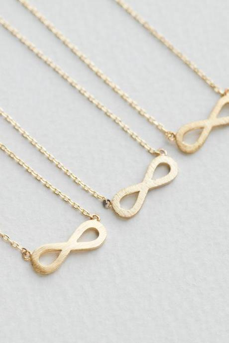 Bridesmaid gifts - Set of 5pcs - Simple falt infinity necklace