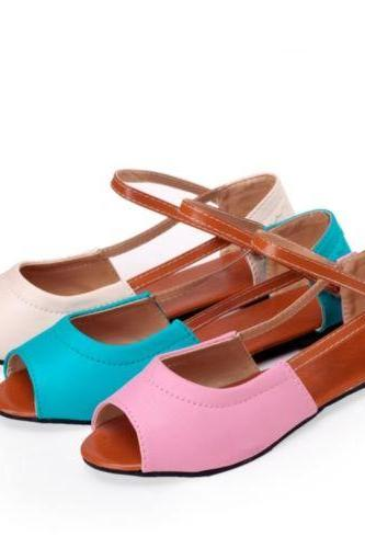 New Womens Ladies Comfort Flats Ankle Straps Cut Out Peep Toe Shopping Sandals
