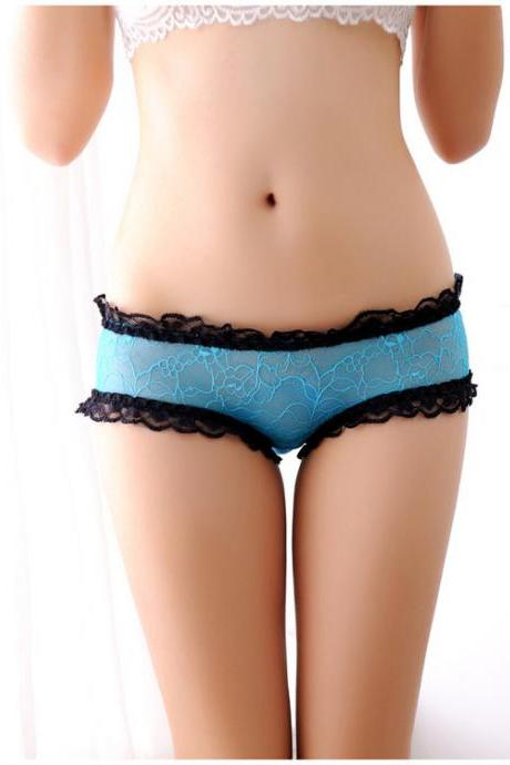 Women Low Waist Sexy Lace Ribbon Bow Back Hollow Cross Lingerie Underwear One Size
