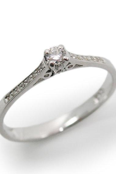 Engagement Ring- White gold & Diamonds (r-13151xc). romantic ring, anniversary gift