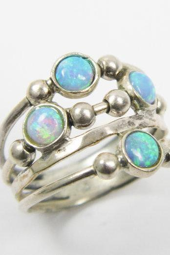 Opal ring. spheres sterling silver ring, birthday gift, christmas gift ideas, opal jewelry, sterling silver ring (sr10019)