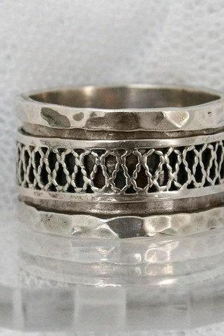 Exquisite unisex sterling silver spinner ring. Silver spinner ring. Rope spinning ring (sr-9568) gift for him