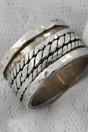 Amazing Wide sterling silver spinner ring. Unisex spinner ring. Braded spinner ring (sr-9609). gift for him, unisex jewelry
