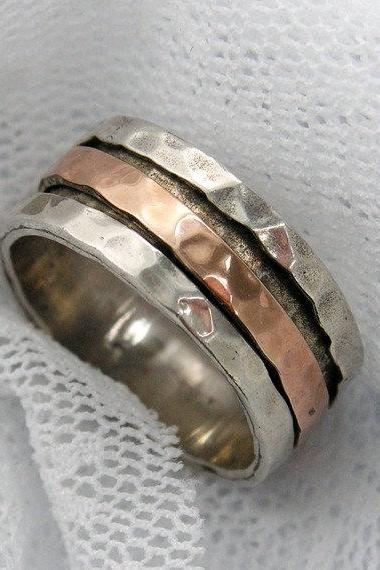 Sterling silver gold spinner ring. Rose gold spinner ring. gold silver spinner ring. Unisex spinner ring (gsr-7002)