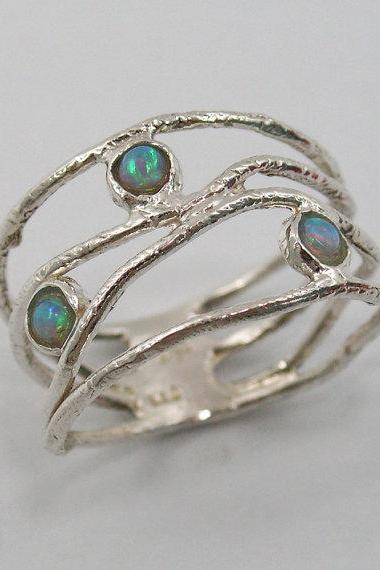 Opal ring. Sterling silver opal ring. wave ring (sr-9773). birthday gift for sister wife girlfriend, opal ring