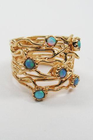 Gold ring. Opal ring. Branches ring, trendy jewelry, gold jewelry, opal gold ring, gift for her, birthday gift.