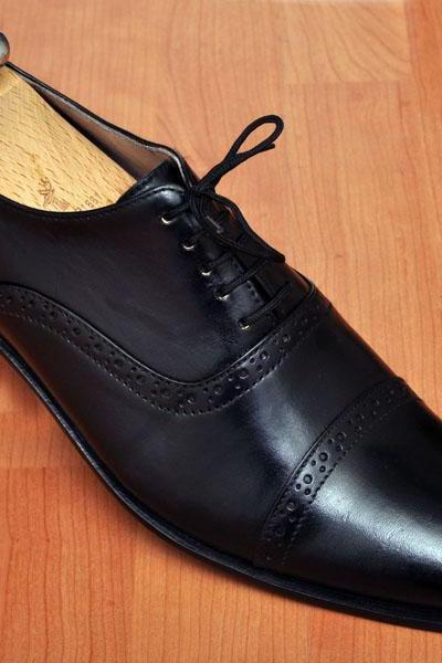 HANDMADE MEN'S OXFORD BLACK LACEUP LEATHER SHOES, MENS BLACK DRESS LEATHER SHOES