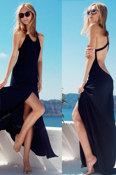Sexy Black Backless Dress