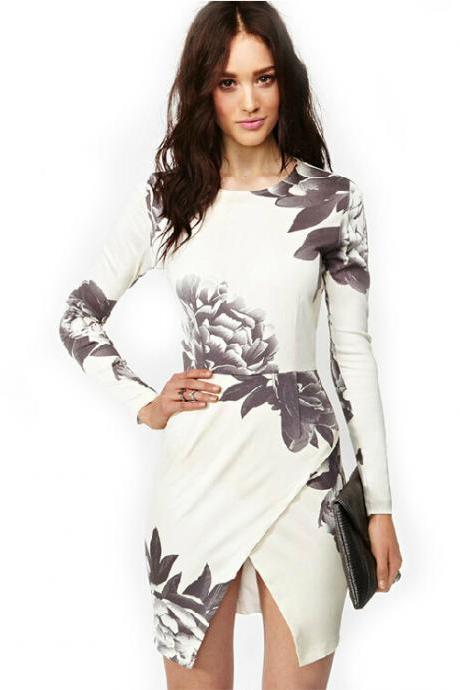 Sexy White Long Sleeve Random Floral Print Wrap Dress
